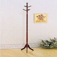6 Hooks Cherry Oak Twist Center Stand Hall Tree Solid Wood Coat Hat Rack Hanger