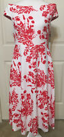 NWT Calvin Klein size 10 white red floral cap sleeve flare dress women's