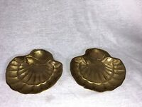 Set Of 2 VINTAGE SOLID BRASS FISH/ CLAM SHELL SOAP DISH, Trinket Dish