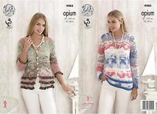King Cole 4466 Knitting Pattern Ladies Cardigan and Sweater in Opium