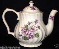 LEFTON VIOLETS PURPLE FLOWERS TEAPOT MADE IN ENGLAND 2.5 CUPS CAPACITY SWIRLED