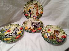 EUC Sakura Set Of 4 Jungle Animal Pattern By Stephanie Stouffer Salad Plates