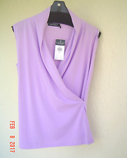 NWT RALPH LAUREN PURPLE COTTON WRAP TOP BLOUSE SIZE M $59