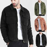 Mens Autumn Corduroy Blouse Coat Fashion Casual Long Sleeve Solid Color Tops