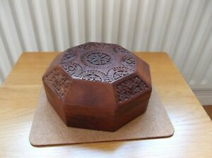 Decorative Carved Octagonal  Wooden Box With Lift Lid