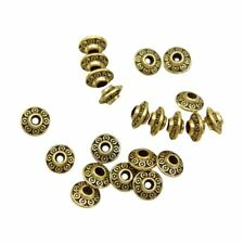 100 X Tone Pattern Spacer Beads 6x4mm Gold F7d5