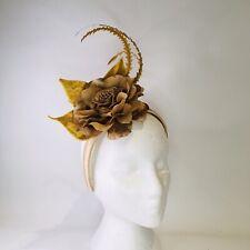 Gold & Beige Fascinator Headband Weddings Spring Races Melbourne Cup
