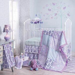 Lambs & Ivy Olivia Collection Paisley Purple 4 Piece Crib Set Bedding Nursery