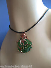18 Gauge Square Solid Copper Wire Wrapped Authentic Green Sea Glass Pendant