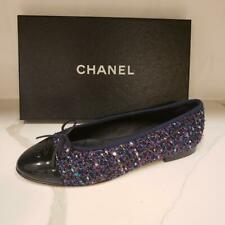 CHANEL 18K Tweed Lurex Patent Cap Toe Bow Ballerina Ballet Flat Shoes $750