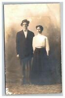 Vintage 1900's RPPC Postcard Husband and Wife Studio Portrait