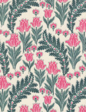 Fabric Flowers Peonies Pink & Ferns on Cream Cotton by the 3 Yards