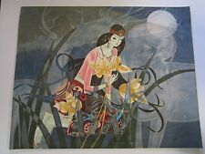 LARGE CHINESE MODERNIST PAINTING ABSTRACT CUBISM YUEN YU FOLK EXPRESSIVE VINTAGE