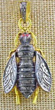 Victorian Look 925 Silver Pendant 1.65cts Rose Cut Diamond Ruby Antique