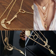Multiwall Set Punk Gold Angel Wing Arrows Collares Pendant Necklace Ideal Gifts