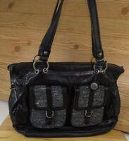The Sak Large Shoulder Bag Purse Black Leather Tapestry Pockets Compartments