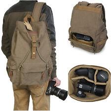 Koolertron Canvas Vintage DSLR SLR Sturdy Camera Backpack Soft Insert Case Green
