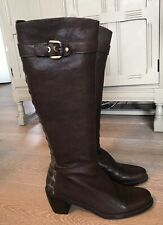 Brown Leather KneeHigh Boots Size 7.5. Stuart Weitzman. Real Crocodile Skin Trim