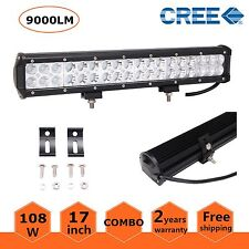 17inch 108W CREE LED LIGHT BAR SPOT FLOOD OFFROAD 4x4 WORK LIGHT 9000LM US