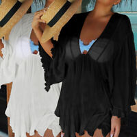 Womens Lace V Neck Bikini Asymmetric Cover Up Beach Dress Summer Bathing Suit