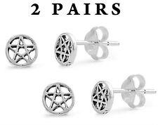 USA Seller 4pcs Pentacles Star Stud Earrings Sterling Silver Bestseller Jewelry