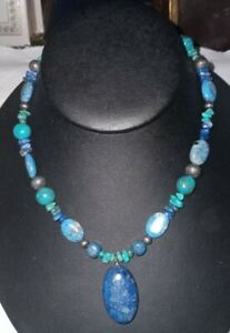 Carolyn Pollack Relios Sterling Silver Lapis Turquoise Beaded Pendant Necklace