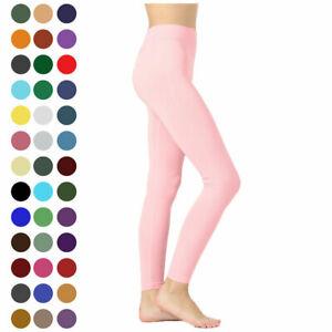 Womens Long Nylon Leggings Seamless Classic Full Line Detail Regular Plus Size