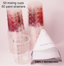 50 X Calibrated Paint Mixing Cups & 50 X 190 Micron Paint Strainers