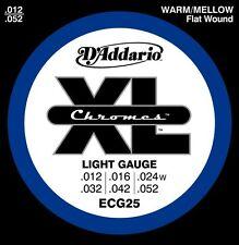 D'addario ECG25 Jeu de cordes électriques Chrome filé plat Light 12-52