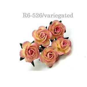 "1""/2.5cm Open Roses Paper flower Wedding Card Scrapbook Craft (R6-5Sum-B)"