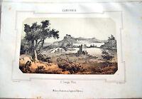 1830 LITOGRAFIA DIPINTA CON VEDUTA DEI CAMPI ELISI (CUMA) NEL REGNO DI NAPOLI