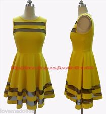 NEW Womens Mesh see through trims Casual Skirt Dress YELLOW  US size small 4 6