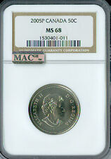 2005-P TEST CANADA 50 CENTS NGC MAC MS-68 PQ 2ND FINEST RARE SPOTLESS ,
