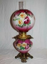 100% Original GWTW  Gone with the Wind Banquet Kerosene Oil Lamp w/ ROSES