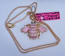 "NWT-CUTE PINK STRIPE ENAMELED w/crystals ""BETSEY JOHNSON"" BUMBLE BEE NECKLACE"