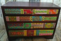 HAND-PAINTED MANGO WOOD SET OF 4 DRAWERS JEWELLERY BOX FOR CANADA UPS 3 DAY