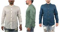 Camicia Jack & Jones 12134550 Uomo Coreana Slim Fit Lino Bianco Blu Verde Estiva