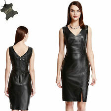 New M&S AUTOGRAPH Real LEATHER Figure Hugging BODYCON DRESS ~ Size 10 ~ BLACK