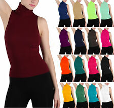 Soft Sexy Seamless Ribbed Sleeveless Mock Neck Turtleneck Shaping Tank Top Shirt