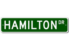 HAMILTON Street Sign - Personalized Last Name Sign