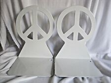 """Peace Symbol Bookends Spectrum Diversified White Metal  7"""""""