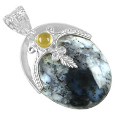 16.21 Gram 925 Sterling Silver 100% Pure Dendrite Opal Citrine Pendant Jewelry $
