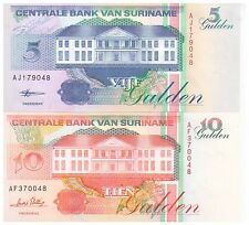 1995 - 1998 5 & 10 Gulden Suriname Banknotes - Uncirculated - Pick 136 & 137