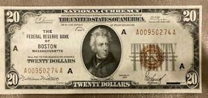 1929 The Federal Reserve Bank of Boston - $20 - National Currency - UNC