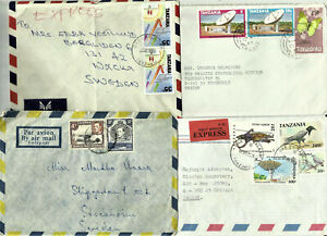 Tanzania, 11 covers and aerogrammes to Sweden, 3 Express, 2 Reg, 1 off.mail Zanz