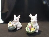 VINTAGE Pair of Porcelain Bunny Rabbits with Baskets Flowers and Eggs