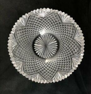 "🟢 Georgian Period Anglo Irish Cut Glass Strawberry Diamond & Fan 8"" Bowl c.1820"