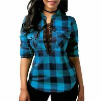 Women Plaid Shirts Long Sleeve Blouses Shirt Office Lady Cotton Lace Up Plus Siz