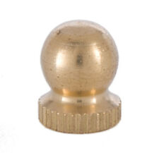 "New Knurled Unf. Brass Knob Finial For Lamp Shade 9/16"" High,  tap 1/4""-27"