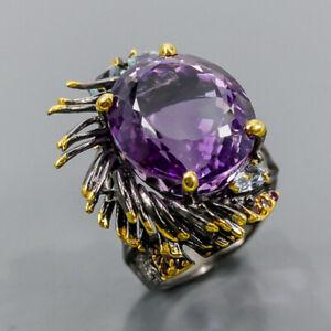 21ct+ Handmade SET Amethyst Ring Silver 925 Sterling  Size 8.5 /R172931